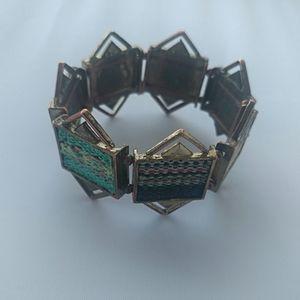 Vintage Copper Tapestry Link Stretch Bracelet